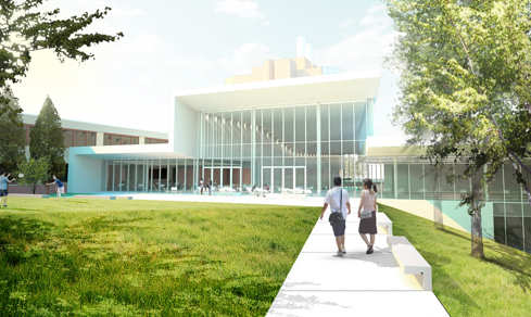 Looking west from new courtyard. Rendering property of Cornell.