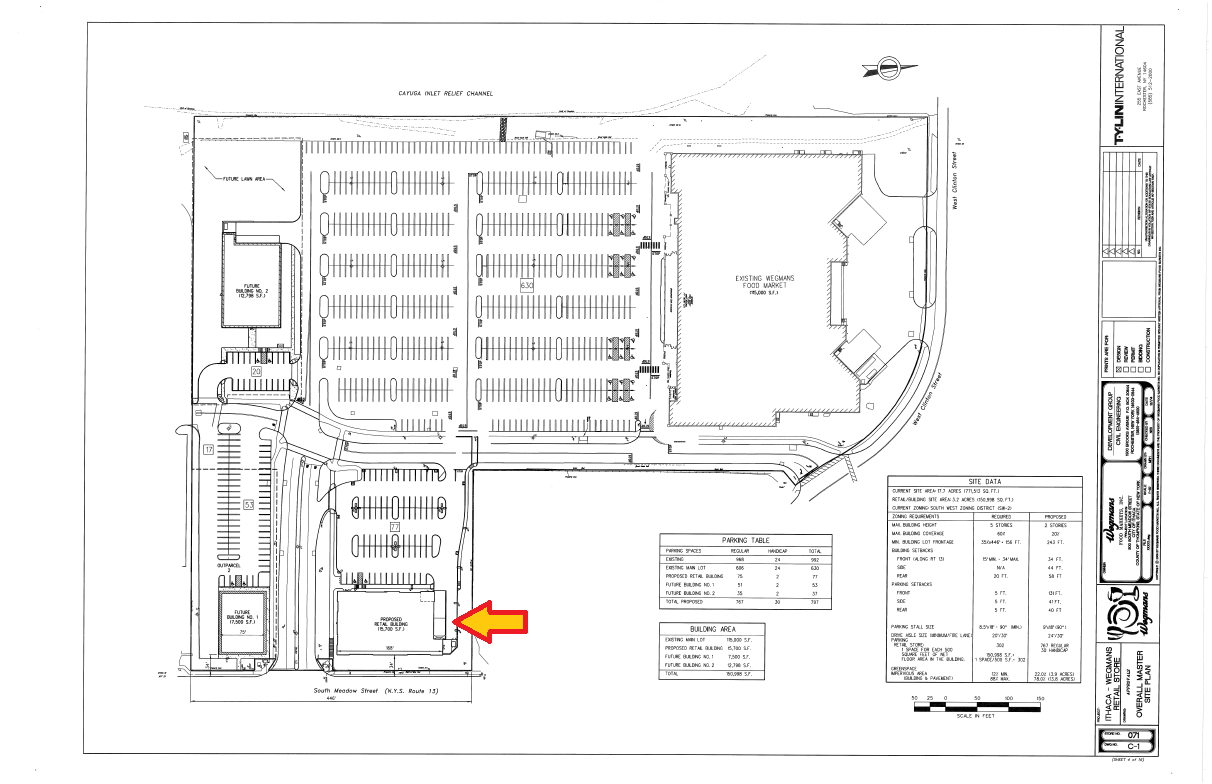 ithaca college ithacating in cornell heights the 15 700 sq ft retail pad proposed by wegmans is up for final review at the december planning board meeting accordingly to the city projects memo